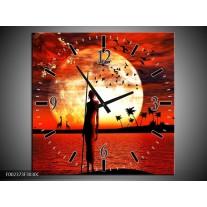 Wandklok op Canvas Afrika | Kleur: Rood, Wit, Zwart | F002373C