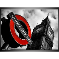 Glas schilderij Londen | Zwart, Rood, Wit