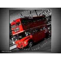 Wandklok op Canvas Londen | Kleur: Rood, Zwart, Grijs | F002379C