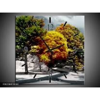 Wandklok op Canvas Boom | Kleur: Groen, Geel, Wit | F002384C