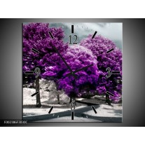 Wandklok op Canvas Natuur | Kleur: Paars, Wit, Grijs | F002386C