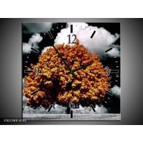 Wandklok op Canvas Natuur | Kleur: Bruin, Grijs, Zwart | F002390C