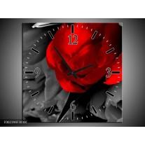 Wandklok op Canvas Tulp | Kleur: Rood, Grijs, Zwart | F002394C