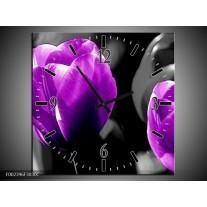 Wandklok op Canvas Tulp | Kleur: Paars, Grijs, Zwart | F002396C
