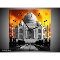 Wandklok op Canvas Taj Mahal   Kleur: Oranje, Zwart, Grijs   F002398C