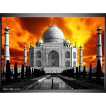 Glas schilderij Taj Mahal | Oranje, Zwart, Grijs