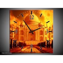 Wandklok op Canvas Taj Mahal | Kleur: Oranje, Geel, Zwart | F002399C