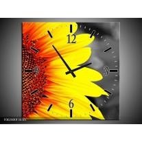 Wandklok op Canvas Zonnebloem | Kleur: Geel, Bruin, Grijs | F002400C