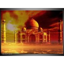 Foto canvas schilderij Taj Mahal | Oranje, Bruin, Geel