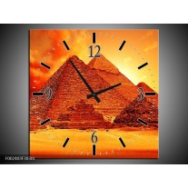 Wandklok op Canvas Piramide | Kleur: Geel, Rood, Oranje | F002403C