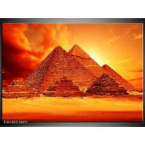 Glas schilderij Piramide | Geel, Rood, Oranje