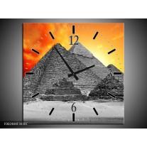 Wandklok op Canvas Piramide | Kleur: Geel, Grijs, Oranje | F002404C