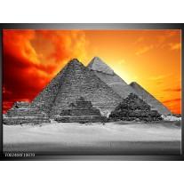 Glas schilderij Piramide | Geel, Grijs, Oranje