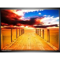 Foto canvas schilderij Zicht | Geel, Rood, Blauw