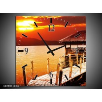 Wandklok op Canvas Zee   Kleur: Geel, Oranje, Bruin   F002410C