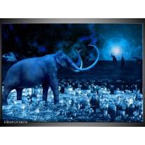 Glas schilderij Olifant | Blauw, Wit, Zwart