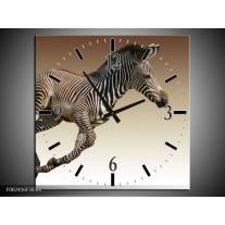 Wandklok op Canvas Zebra | Kleur: Zwart, Wit, Bruin | F002416C