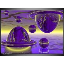 Glas schilderij Abstract | Blauw, Paars, Geel