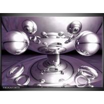 Glas schilderij Abstract | Grijs, Wit, Paars