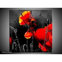 Wandklok op Canvas Klaproos   Kleur: Zwart, Rood, Wit   F002432C
