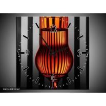 Wandklok op Canvas Glas   Kleur: Oranje, Zwart, Grijs   F002433C