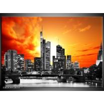 Glas schilderij Gebouw | Grijs, Geel, Oranje