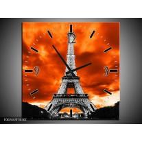 Wandklok op Canvas Parijs | Kleur: Rood, Grijs, Zwart | F002443C