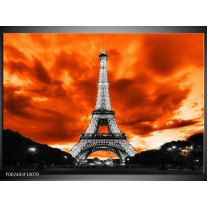 Glas schilderij Parijs | Rood, Grijs, Zwart