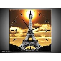 Wandklok op Canvas Parijs | Kleur: Goud, Geel, Grijs | F002445C