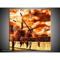 Wandklok op Canvas Parijs   Kleur: Bruin, Geel, Wit   F002446C