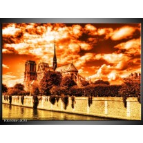 Glas schilderij Parijs   Bruin, Geel, Wit