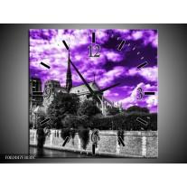 Wandklok op Canvas Parijs | Kleur: Paars, Wit, Zwart | F002447C