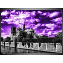 Glas schilderij Parijs | Paars, Wit, Zwart