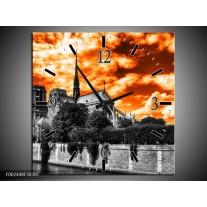 Wandklok op Canvas Parijs   Kleur: Oranje, Wit, Zwart   F002448C