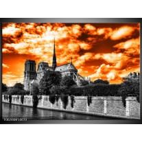 Glas schilderij Parijs | Oranje, Wit, Zwart