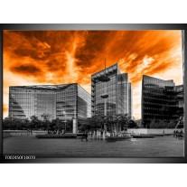 Glas schilderij Gebouw | Oranje, Grijs, Zwart