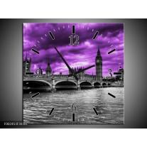 Wandklok op Canvas Londen | Kleur: Paars, Grijs, Zwart | F002453C