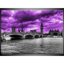 Glas schilderij Londen | Paars, Grijs, Zwart