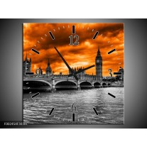 Wandklok op Canvas Londen | Kleur: Oranje, Grijs, Zwart | F002454C