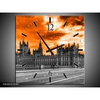 Wandklok op Canvas Londen | Kleur: Oranje, Grijs, Zwart | F002455C