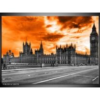 Glas schilderij Londen | Oranje, Grijs, Zwart