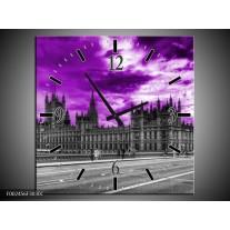 Wandklok op Canvas Londen | Kleur: Paars, Grijs, Zwart | F002456C