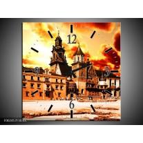Wandklok op Canvas Gebouw | Kleur: Oranje, Bruin, Geel | F002457C