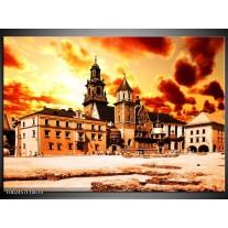 Glas schilderij Gebouw | Oranje, Bruin, Geel