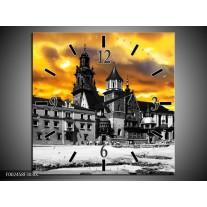 Wandklok op Canvas Gebouw | Kleur: Grijs, Bruin, Geel | F002458C