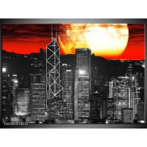 Foto canvas schilderij Nacht | Zwart, Rood, Geel