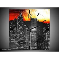 Wandklok op Canvas Nacht | Kleur: Zwart, Rood, Geel | F002463C