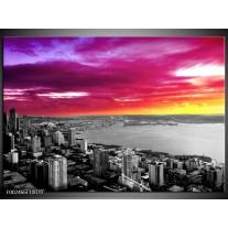 Glas schilderij Uitzicht | Grijs, Paars, Roze