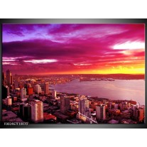 Foto canvas schilderij Uitzicht | Roze, Geel, Oranje