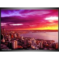 Glas schilderij Uitzicht | Roze, Geel, Oranje